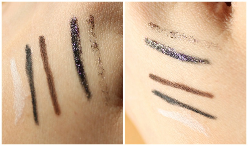 essence eyeliners and eye pencils swatches
