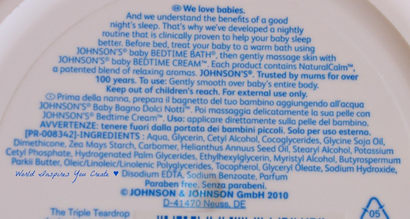 johnsons bed time cream blog ingredients