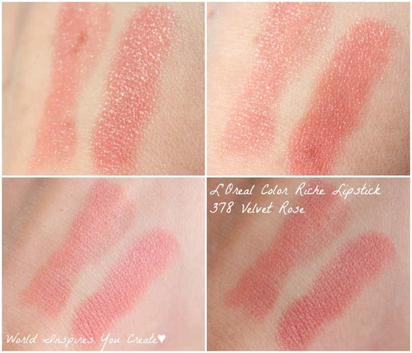 loreal color riche lipstick velvet rose swatch