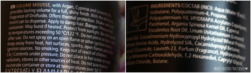 orofluido volume mousse ingredients
